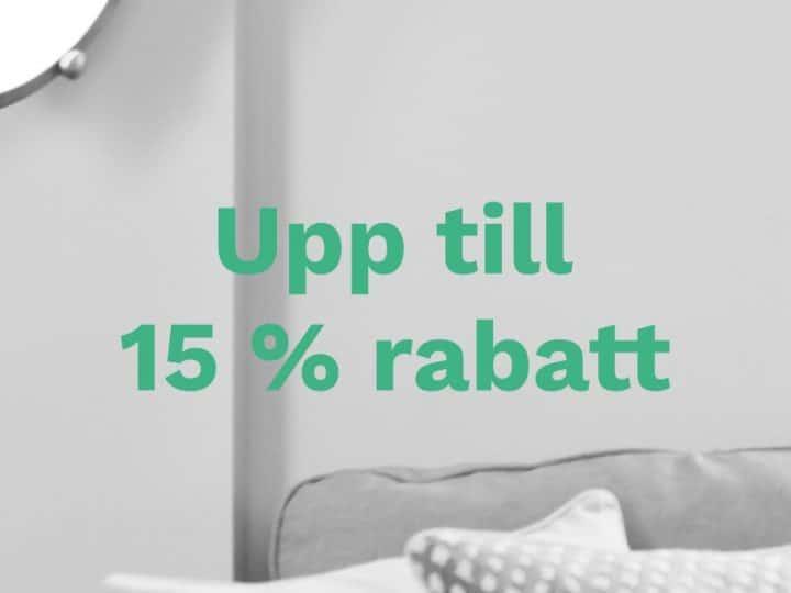 Upp till 15 % rabatt på utvalda boenden i Stockholm och Uppsala!